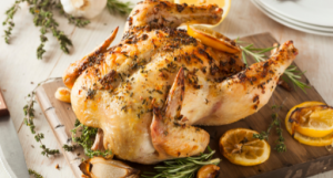 I call this a sunday dinner. The presentation is beautiful and the whole family will enjoy. Chicken is rubbed with lemon, thyme, and some rosemary. The smell when baking it is delightful